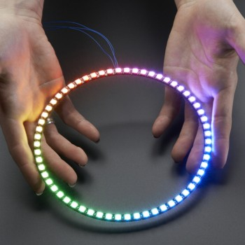 Adafruit NeoPixel 1/4 60 Ring, 15 x 5050 RGB LED with Integrated Drivers