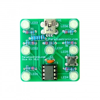 Dice Kit by Paradisetronic.com with green PCB, diffuse LEDs and Atmel AVR Microcontroller