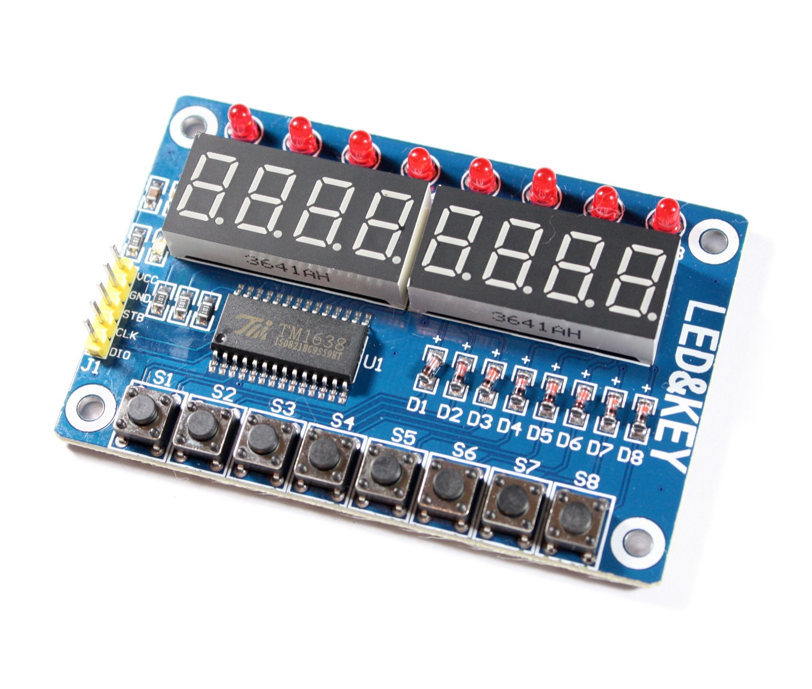 Extension Board, 8 LEDs, 7-Seg-Displays, Switches, TM1638
