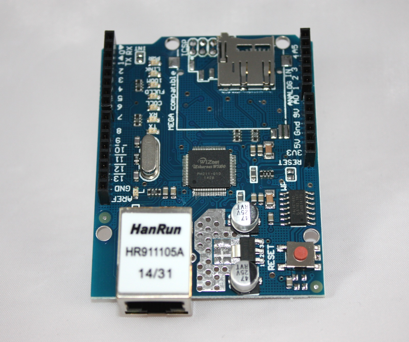ethernet shield   microsd slot with w5100 controller for arduino