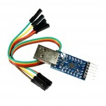 UART Converter Adapter, 2Mbit Baudrate, 3.3V/5V, Serial Connector with CP2104 and Wires